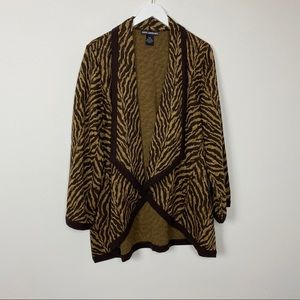 Nina Leonard Animal Print Cardigan Sweater Size L